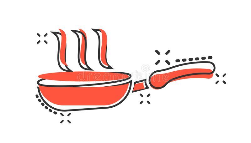 Vector cartoon frying pan icon in comic style. Cooking pan concept illustration pictogram. Skillet kitchen equipment business. Splash effect concept royalty free illustration