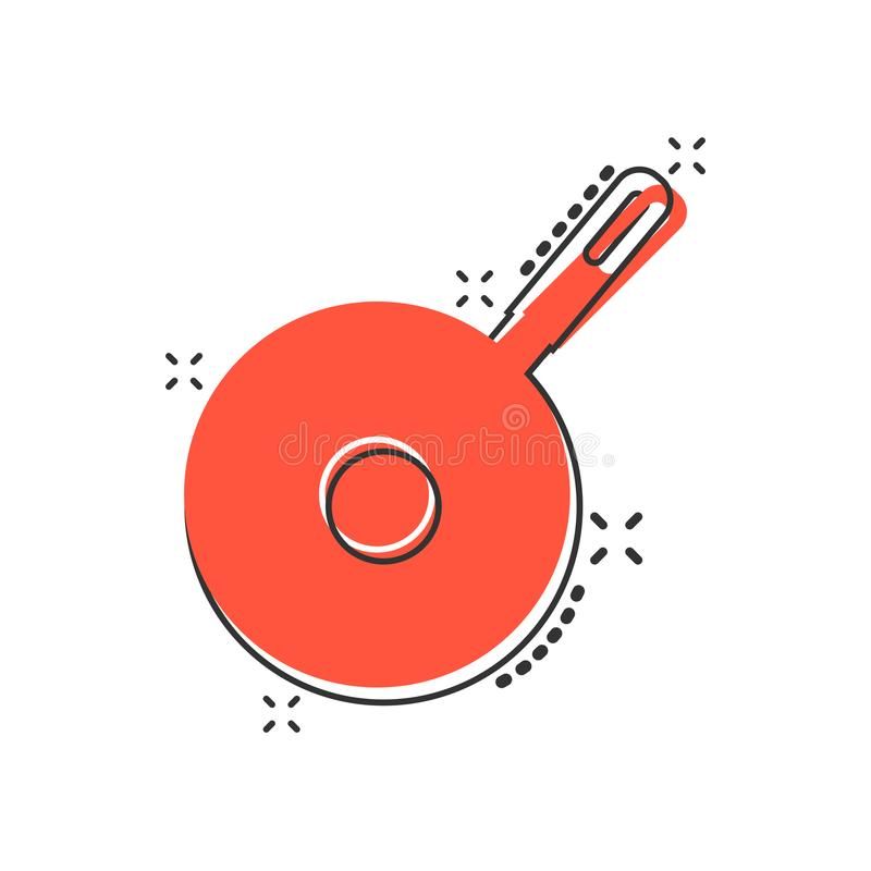 Vector cartoon frying pan icon in comic style. Cooking pan concept illustration pictogram. Skillet kitchen equipment business. Splash effect concept vector illustration