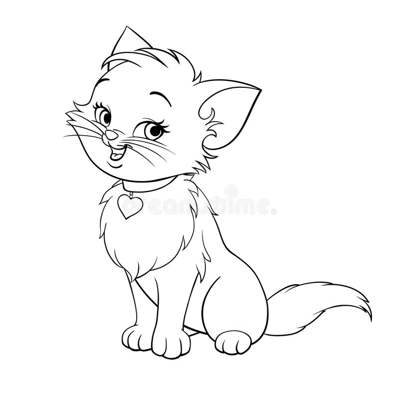 Vector cartoon fun cute kitten line art vector illustration