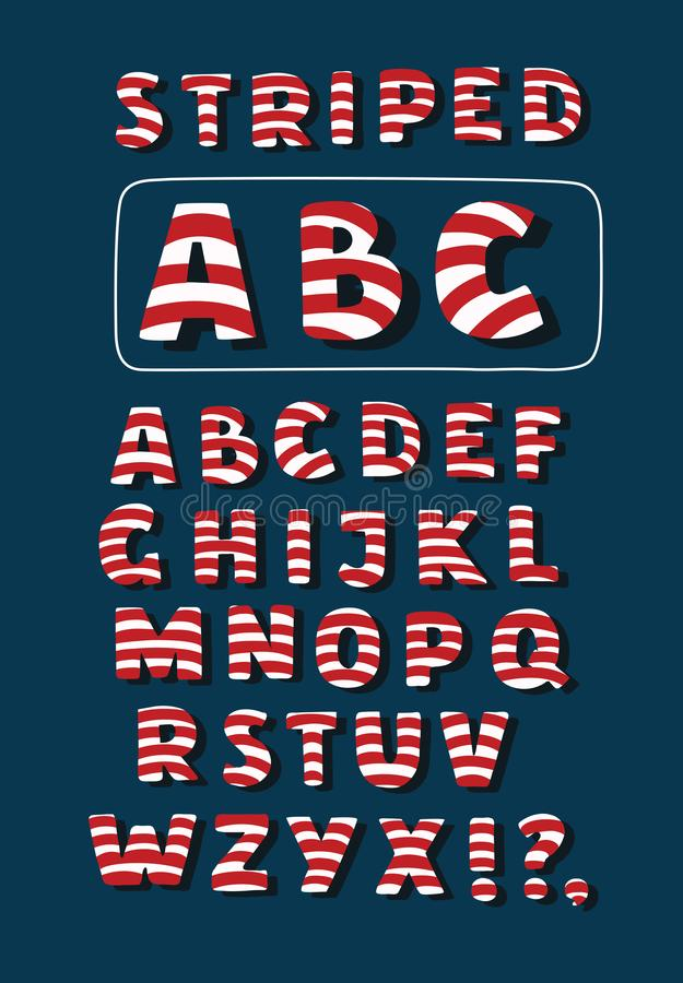 Vector cartoon funny Christmas striped candy alphabet letters. vector illustration