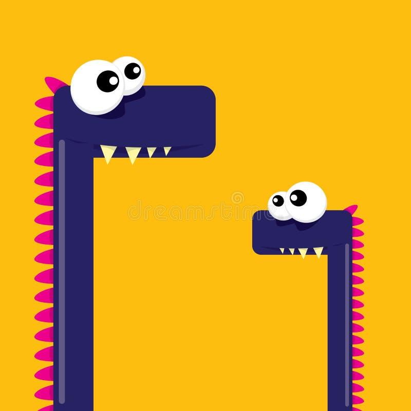 Vector cartoon funny dragon. Cartoon Dinosaur. stock illustration