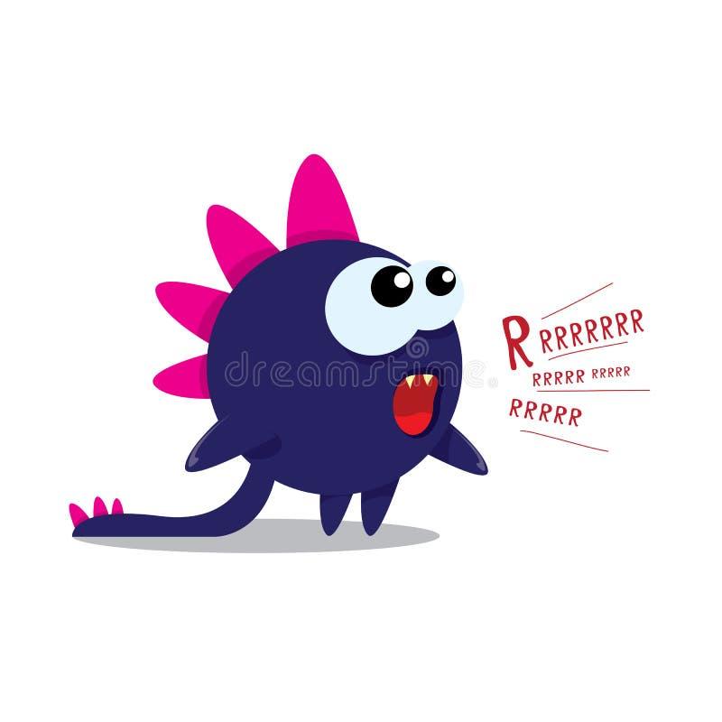 Vector cartoon funny dragon. Cartoon Dinosaur. royalty free illustration