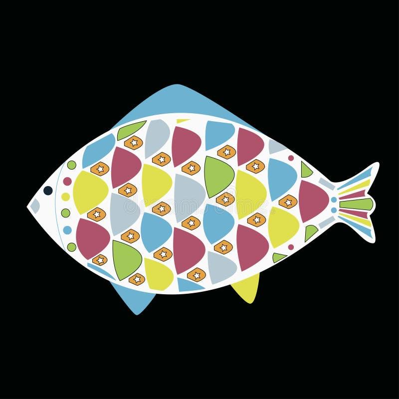 Vector Cartoon Funny Fish. Underwater Life. Stock Image