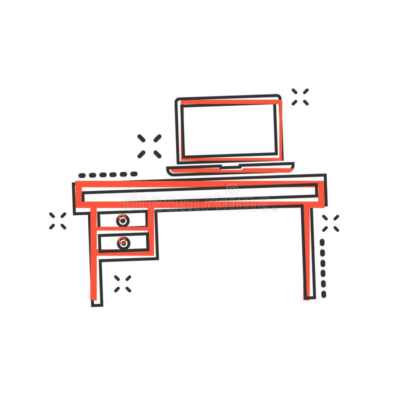 Vector cartoon furniture table with laptop computer icon in comic style. Table sign illustration pictogram. Furniture business sp royalty free illustration