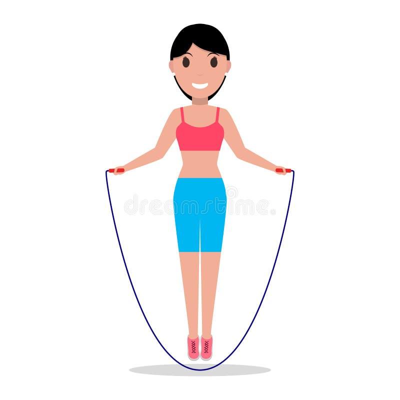 Vector cartoon girl jumping on a skipping rope stock illustration