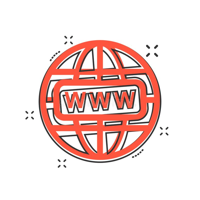 Vector cartoon go to web icon in comic style. Globe world sign i stock illustration