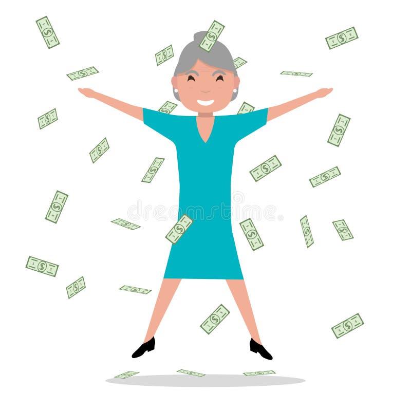 Vector cartoon grandmother jumping falling money royalty free illustration
