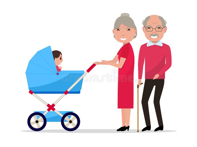 Vector cartoon grandparents with a pram, a toddler royalty free illustration