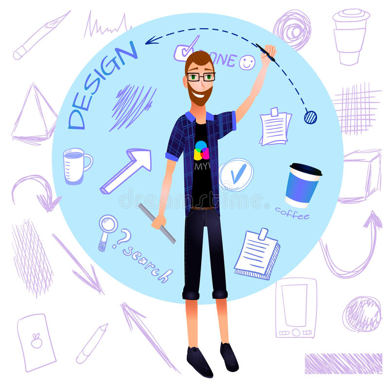 VECTOR cartoon graphic designer with doodle elements. stock illustration