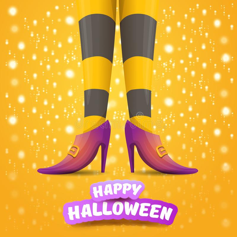 Vector cartoon halloween party poster with women witch legs and vintage ribbon with text happy halloween on orange stock images