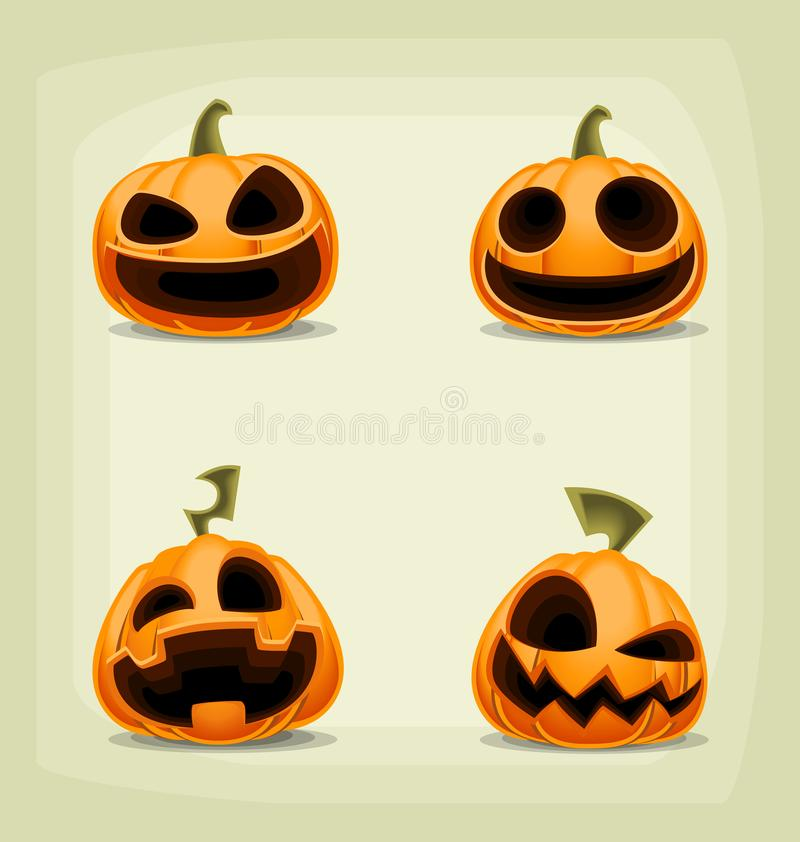 Vector cartoon halloween pumpkin set with scary laugh face royalty free illustration