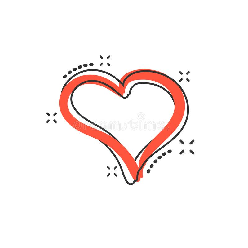 Vector cartoon hand drawn heart icon in comic style. Love sketch. Doodle heart illustration pictogram. Handdrawn valentine business splash effect concept royalty free illustration