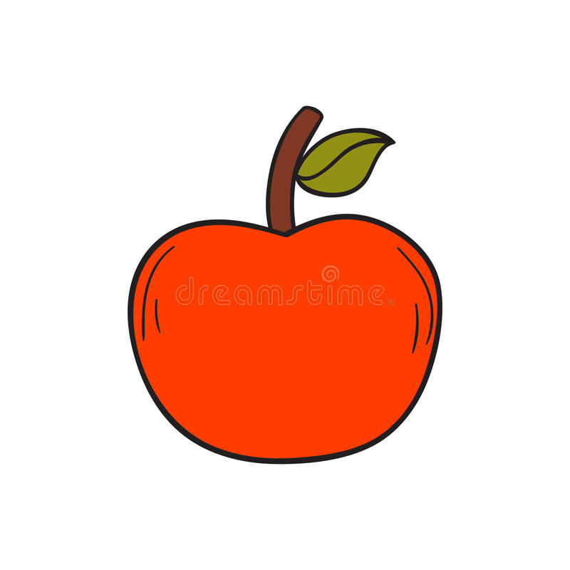 Vector cartoon hand drawn red apple. Vector illustration with cartoon hand drawn red apple on white background. Healthy fruit snack for diet and healthy royalty free illustration