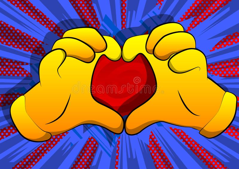Cartoon hands showing heart shape hand gesture on comic book background. stock illustration