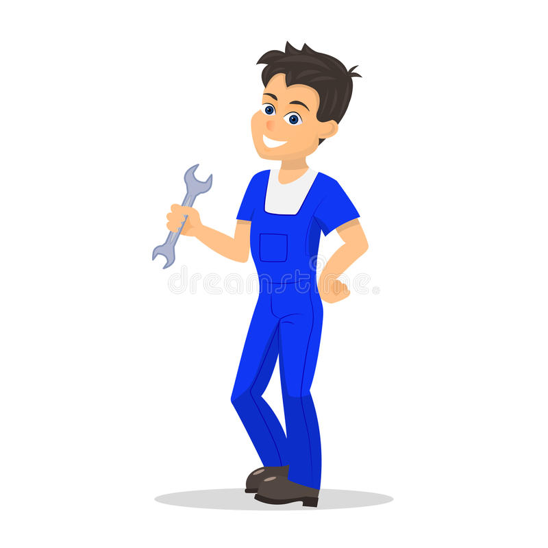 Vector cartoon handyman man wrench. Vector illustration of a cartoon handyman man with a wrench. Isolated white background. Concept of business service repair vector illustration