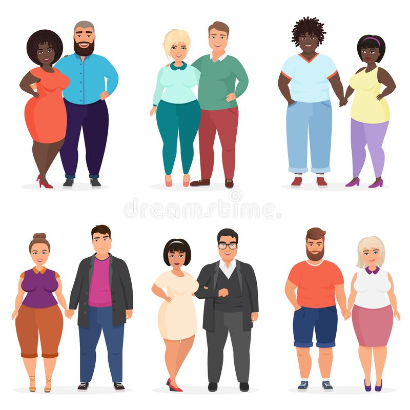 Vector Cartoon happy and smiling plus size people couples. Man and woman. Curvy, overweight fat people in casual dress royalty free illustration
