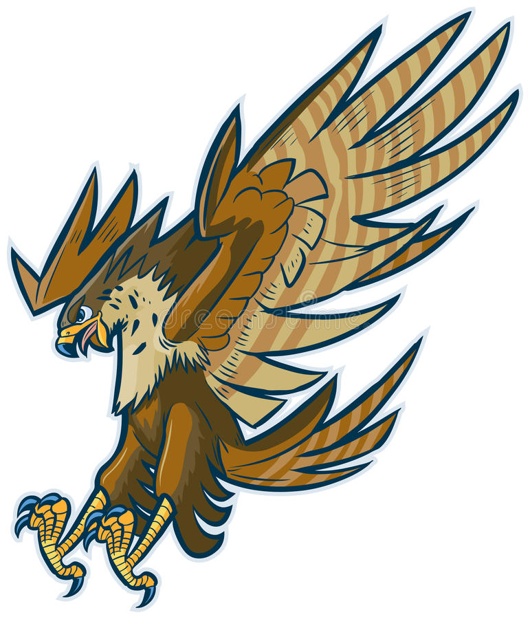 Vector Cartoon Hawk Eagle or Falcon Diving or Swooping royalty free illustration