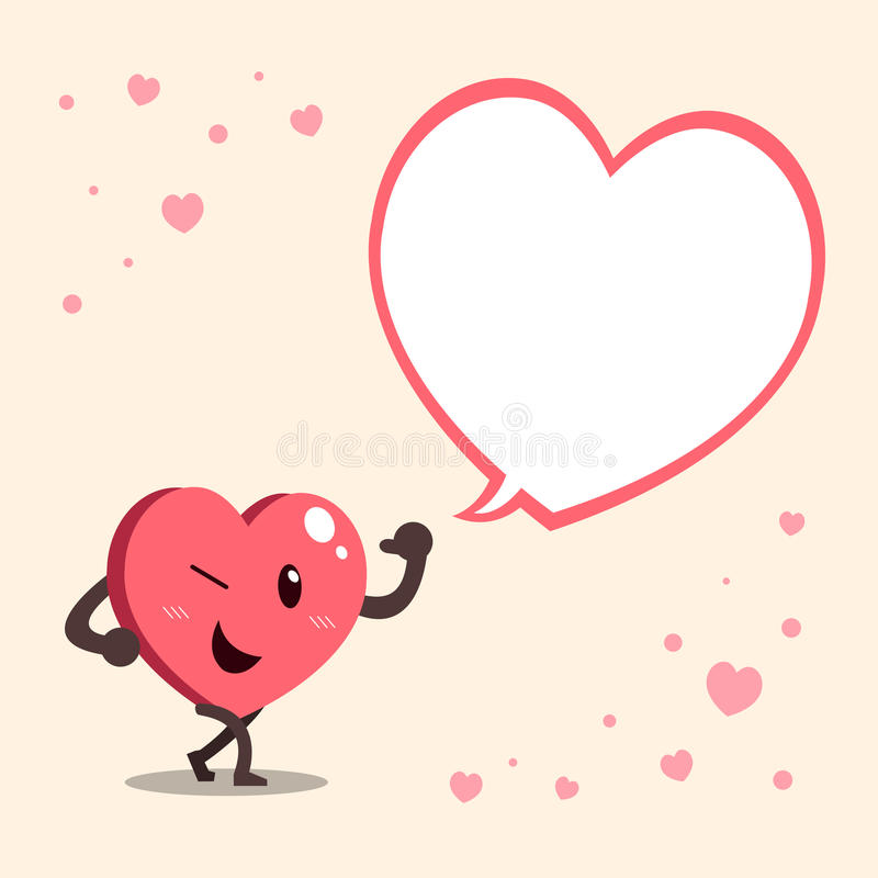 Vector Cartoon Heart Character With Big White Speech Bubble Stock