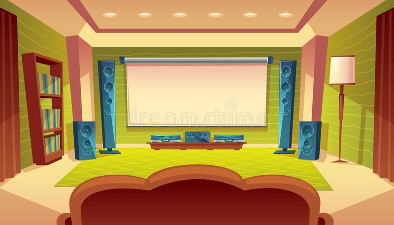 Vector cartoon home theater with projector screen. Vector cartoon home theater with projector, audio video system inside the hall. White screen on the wall vector illustration