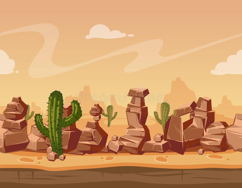 Vector cartoon horizontal seamless landscape with stones and cactus. Game wild background illustration. Nature scene landscape with mountain desert vector illustration