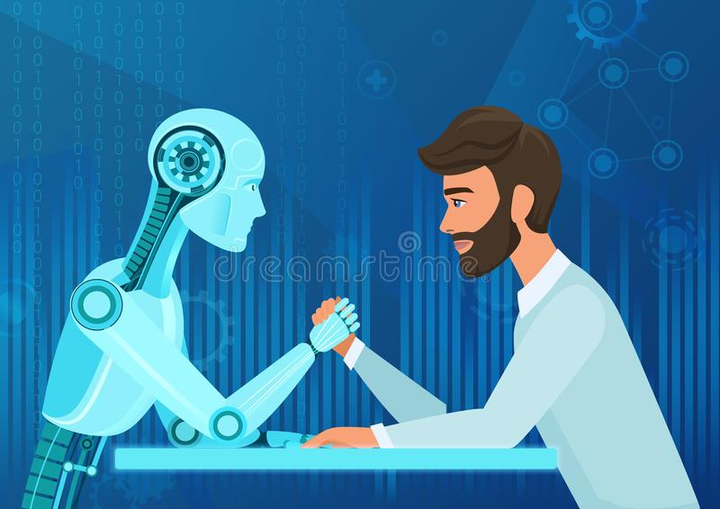 Vector cartoon Human businessman office manager man vs robot artificial intelligence pulling rope competition. Near vector illustration