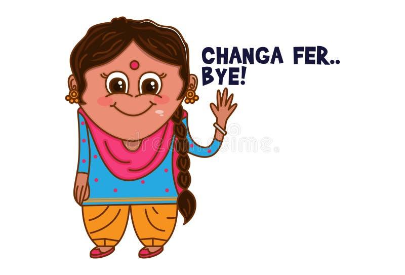 Vector cartoon-illustratie van Punjabi Woman royalty-vrije illustratie
