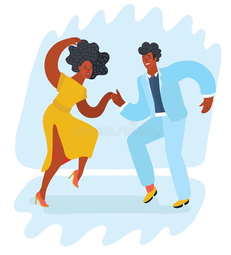 Swing dancing couple. Vector cartoon illustration of Afro Dancers. Swinging couple stock illustration