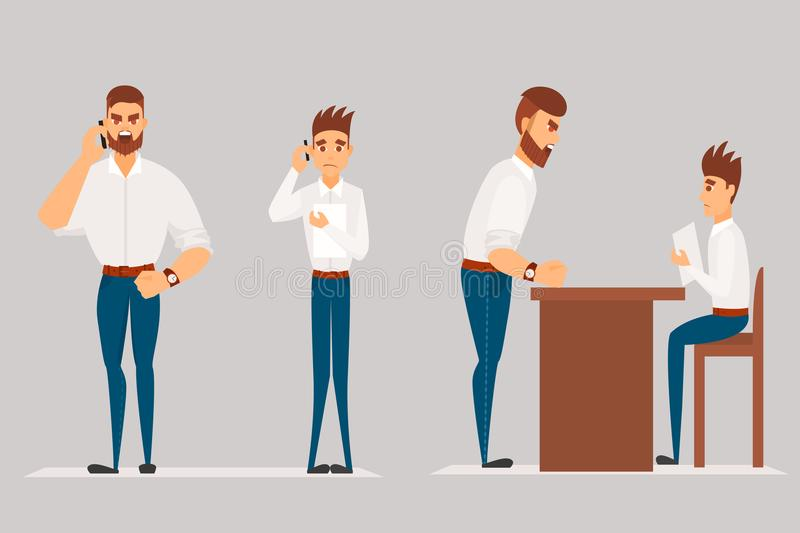 Vector cartoon Illustration of angry man scolds worker. Boss man character screams on worker vector illustration