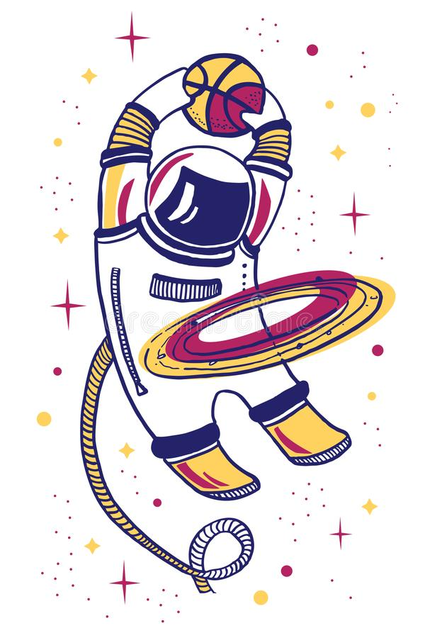 Vector cartoon illustration with asronaut playing basketball in space with planet ring vector illustration