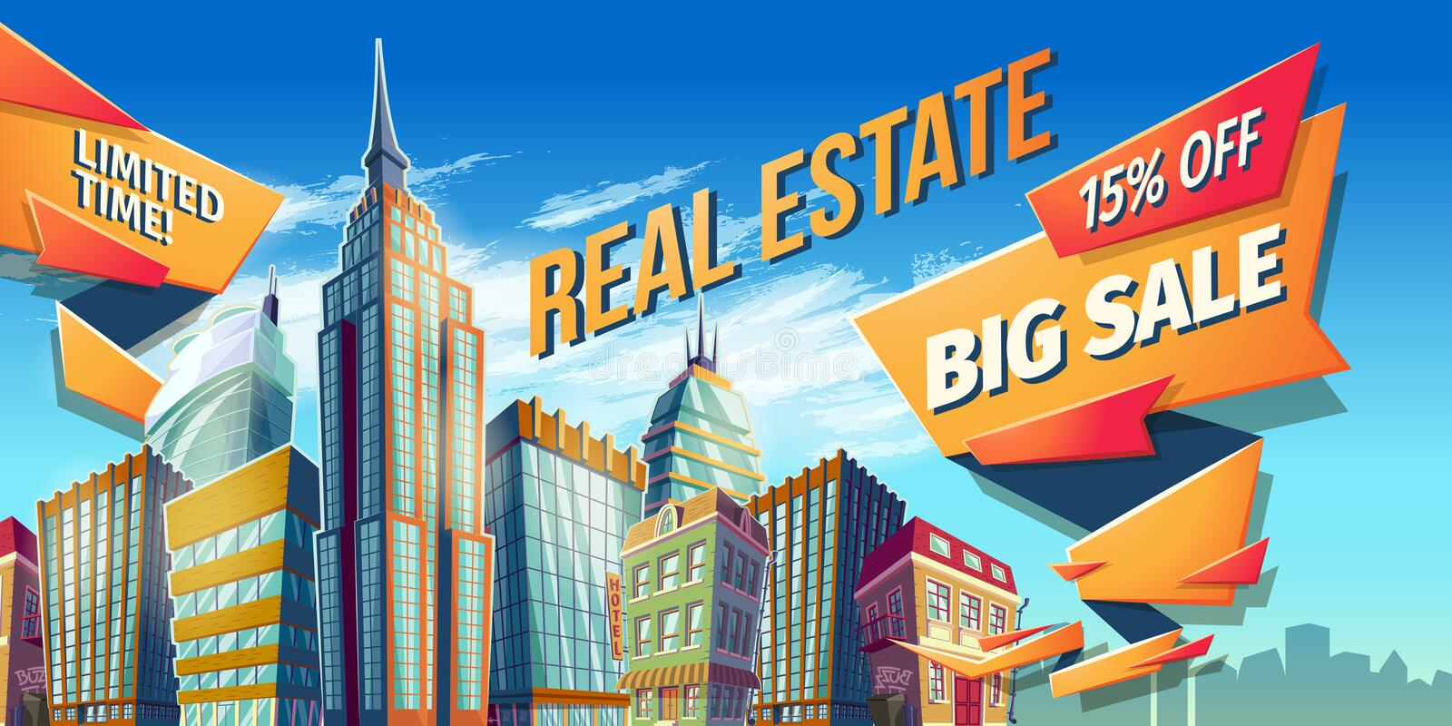 Vector cartoon illustration, banner, urban background with modern big city buildings stock illustration