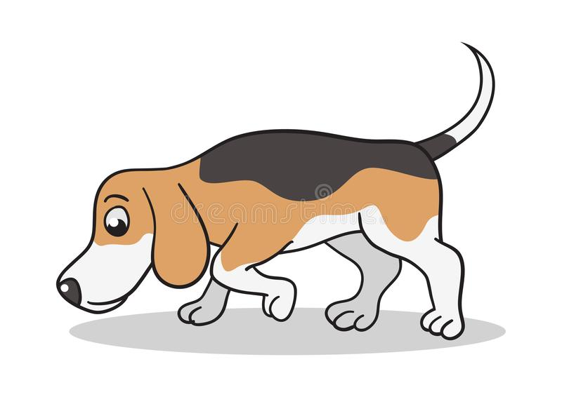 Beagle Dog Cartoon. Vector cartoon illustration of a beagle dog sniffing royalty free illustration