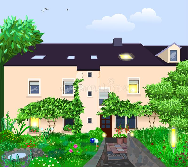 Vector cartoon illustration of a beautiful summer house and garden. With many flowers stock illustration