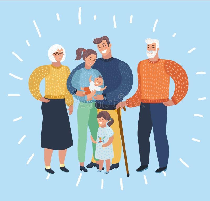 Big family portrait stock illustration
