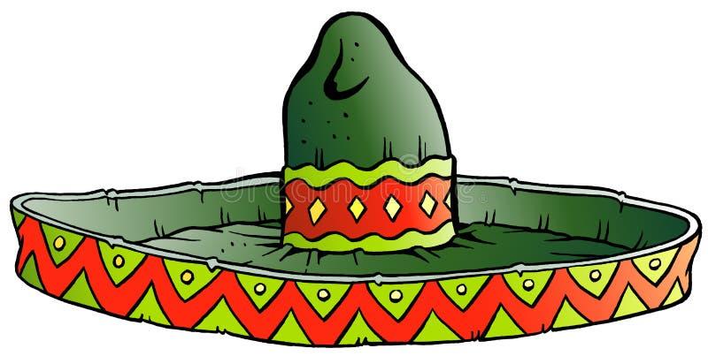 Vector Cartoon illustration of a Big Mexican Sombrero Hat. Vector Cartoon illustration of a Big green Mexican Sombrero Hat vector illustration