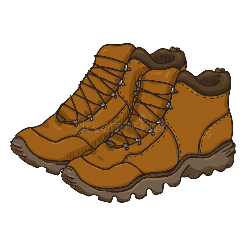 Vector Cartoon Illustration - Brown Extreme Hiking Boots. royalty free stock image