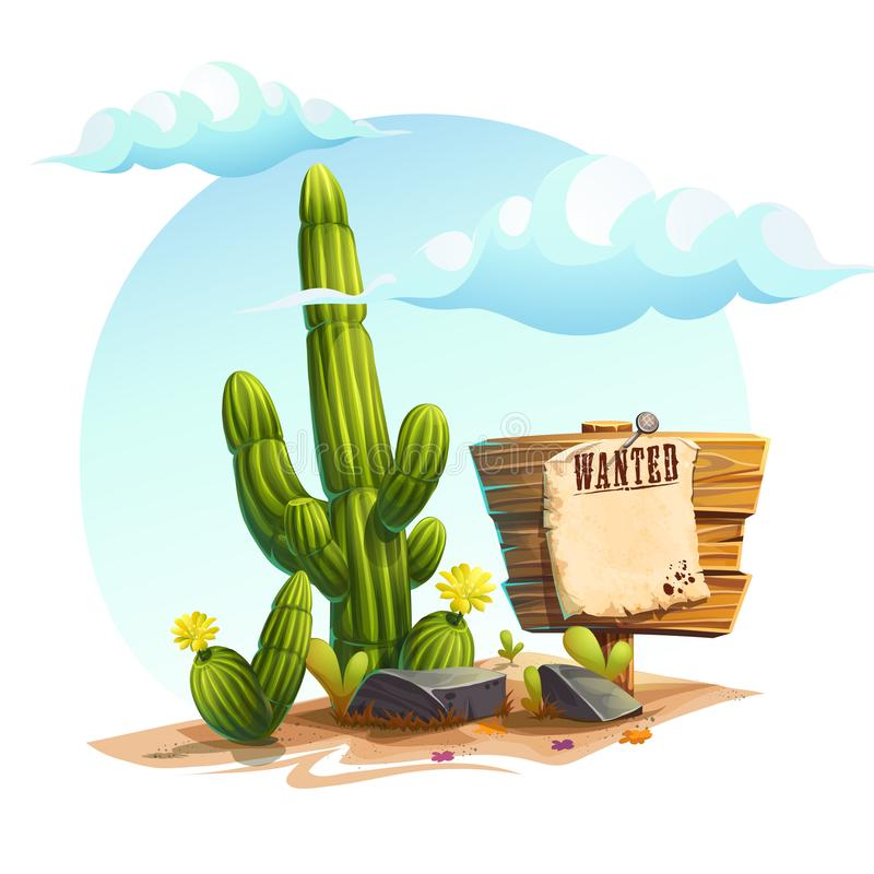 Vector cartoon illustration of a cactus, Wanted royalty free illustration