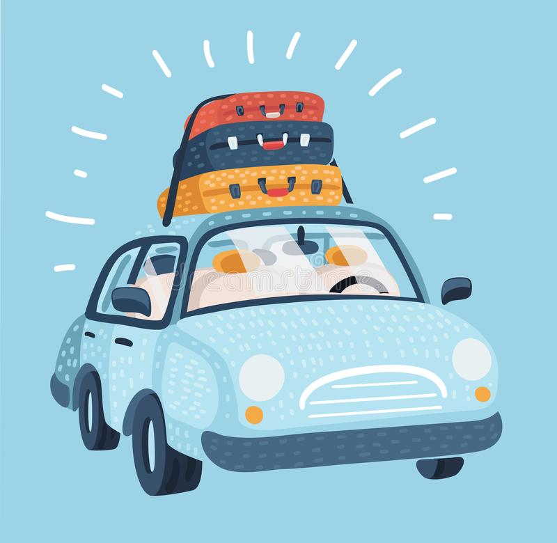 Car for traveling. Vehicle transport with baggage. Car for family trip, side view. vector illustration