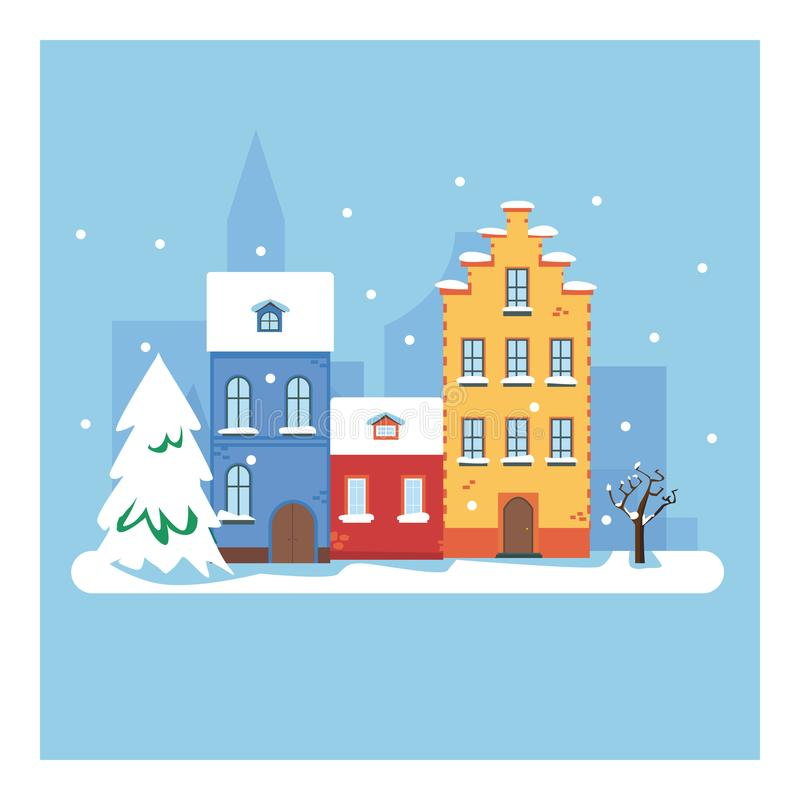 Winter city. Vector cartoon illustration of Christmas town illustration. Winter landscape. Greeting card with fairy tale houses. S vector illustration