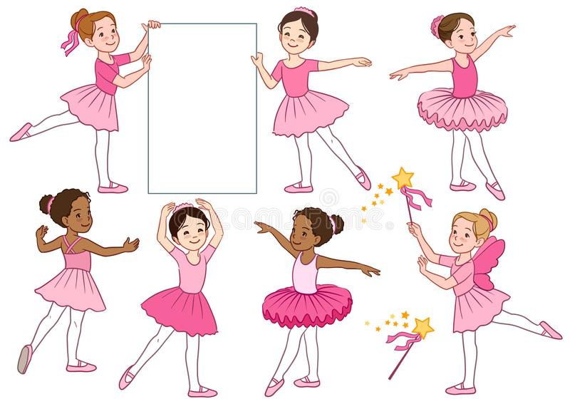 Vector cartoon illustration collection of cute multicultural lit. Tle ballerina girls characters wearing pink leotards and tutu skirts. Ballet, dance, creative stock illustration