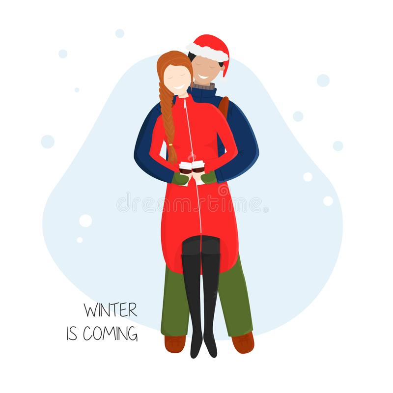 Vector Cartoon Illustration of Couple Cuddling. Boyfriend Hugs his Girlfriend behind and She Holding Cups with Hot Chocolate. Flat Concept Design of Enamored stock illustration