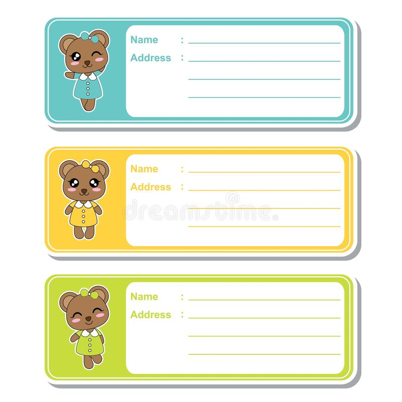 Vector cartoon illustration with cute bear girls on colorful background suitable for kid address label design. Address tag and printable sticker set vector illustration