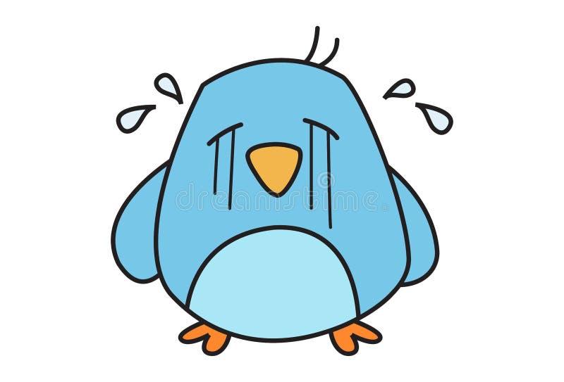 Vector cartoon illustration cute bird crying isolated white background illustration cute cartoon bird 135833919