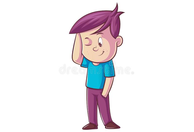 Vector cartoon illustration of cute boy royalty free illustration