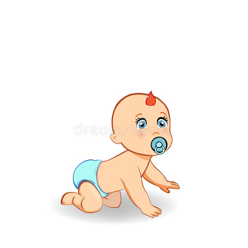 Cartoon crawling baby boy in blue diaper with pacifier isolated. Vector cartoon illustration of cute crawling baby boy in blue diaper with pacifier. Small ginger stock illustration