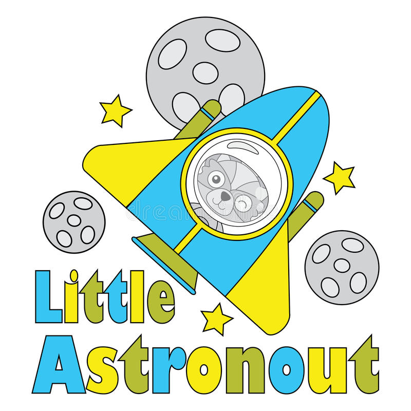 Vector cartoon illustration of cute fox boy as little astronaut suitable for kid t-shirt graphic design royalty free illustration