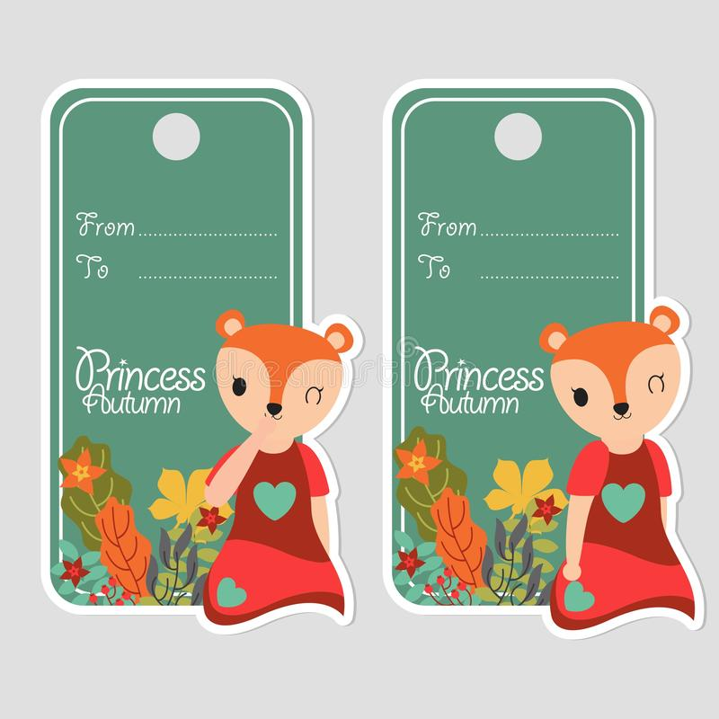 Cute fox girl smiles and flowers suitable for birthday label stock illustration
