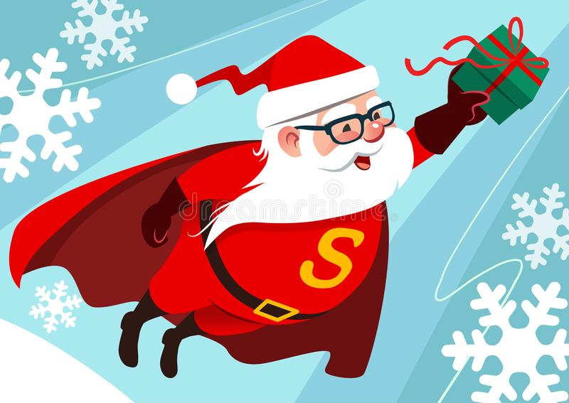 Vector cartoon illustration of cute funny Santa Claus as superhero, wearing cape, flying through the air with one arm stretched f vector illustration