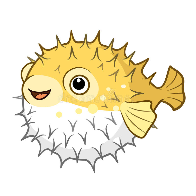 Vector cartoon illustration of a cute happy smiling yellow spiky vector illustration