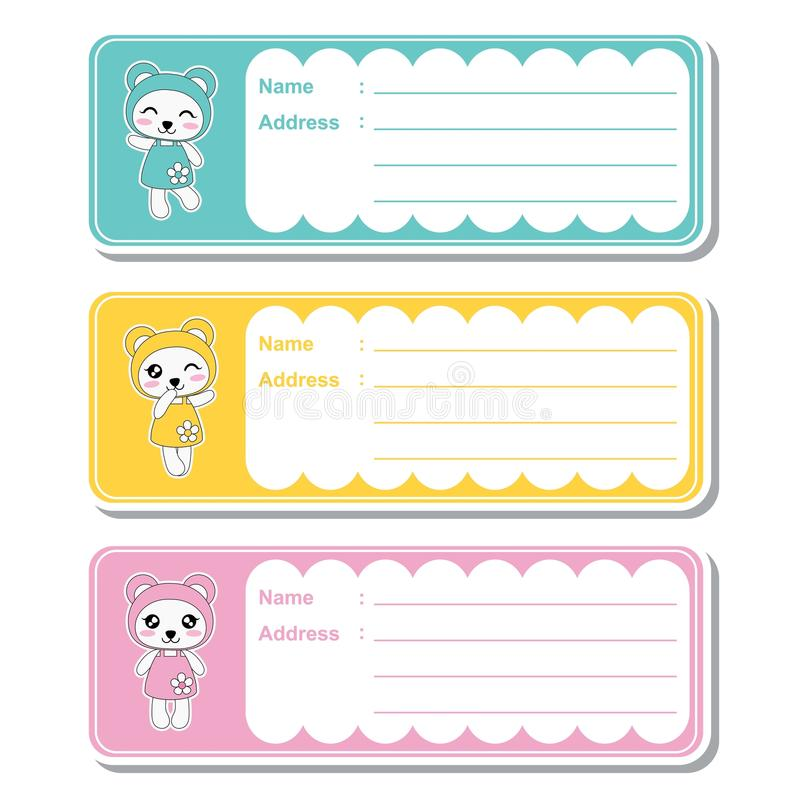 Vector cartoon illustration with cute kawaii pandas on colorful background suitable for kid address label design vector illustration
