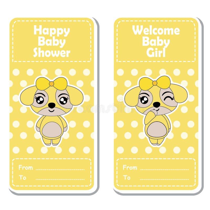 Vector cartoon illustration with cute puppy girls on yellow polka dot vector illustration